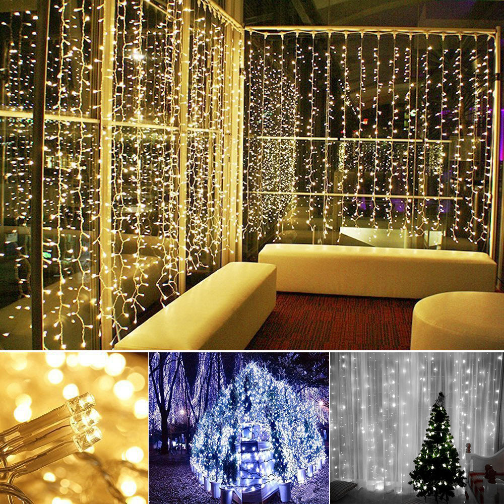10x3M LED Curtain Fairy Lights Decoration For Wedding Holiday Party Xmas Christmas Garland String Lights Outdoor 1 5x1 5 rgb led string christmas fairy lights luces decorativas led para fiestas curtain valance home wedding decoration garland