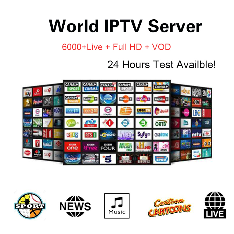 World IPTV Subscription Free Account Applied on Smart television Android  Box IPTV Live Tv Channels Portugal Arabic France Spain