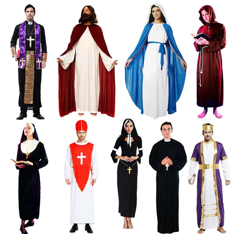 Women Men Kids Adults Jesus Nun Costume Pope Priest Cosplay Costumes Carnival Halloween Party Supplies Purim Christmas Navidad