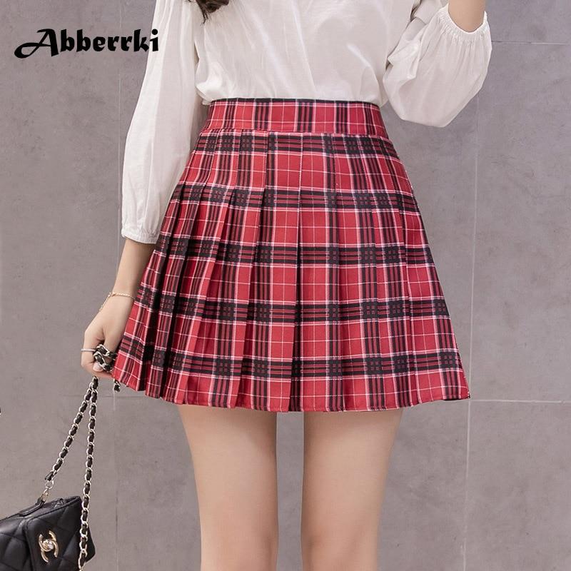 Estilo coreano de mujer con cremallera de cintura alta, falda de la muchacha de la Escuela de faldas falda a cuadros rojo sexy mini falda jupe femme