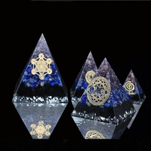 AURA REIKI Orgonite Aogen Natural Crystal Energy Pyramid Decoration Aowei Generator Helps Soothe The Soul Process Resin