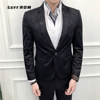 Slim Fit Blazer Men Prom Dress Blazer Men Decent Party Wear Printed Blazers Jacket For Men Chaquetas Hombre De Vestir (S~3XL)