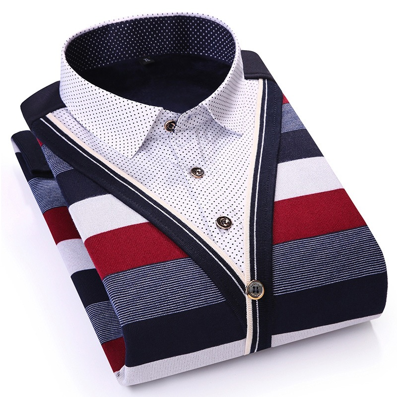 Fashion Striped Men Casual Shirt Long Sleeve Slim Fit Fake Two Pieces Winter Warm Shirt Polka Dot With Velvet Thick Dress Shirt