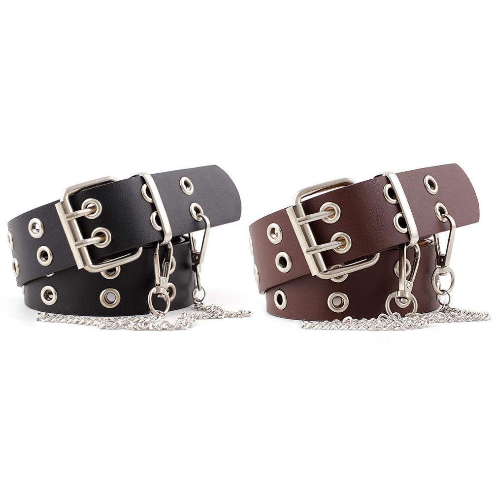 Double Row Hole   Belt   For Men And Women Fashion Punk Style With Eyelet Chain Decorative   Belt   For Jeans Pants Trousers Punk Wind