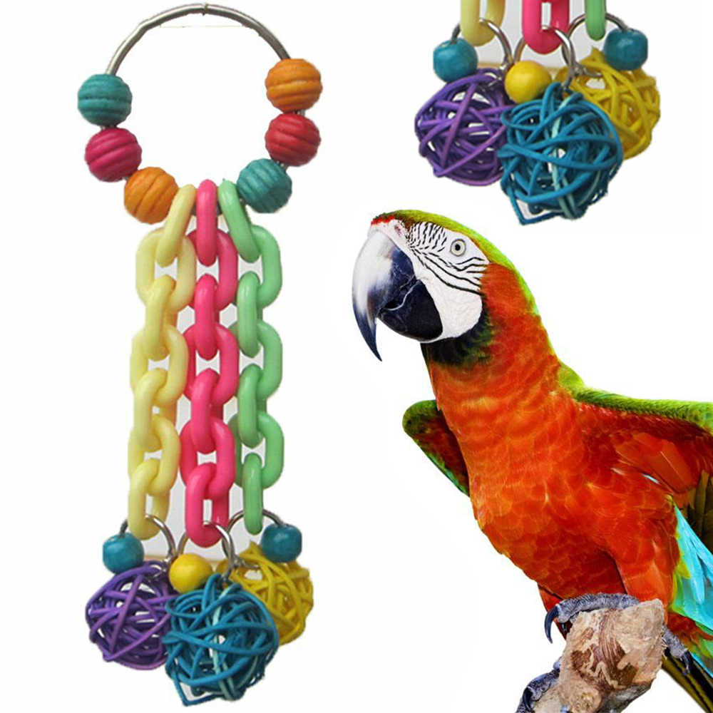Colorful Bird Parrot Parakeet Canaries African Budgie Cockatoo Macaw 18cm Cage Chew Toys Pets Playing Accessories Bird Supplies