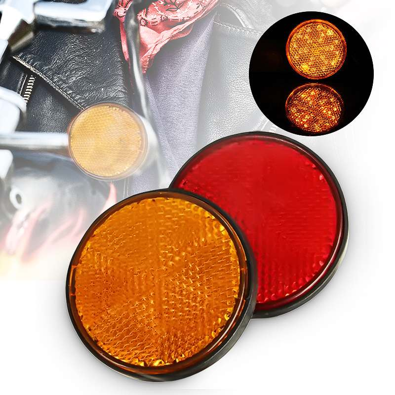 2Pcs 2'' Universal MOTORCYCLE ATV Scooter Dirt Bikes BOLT NUMBER PLATE ROUND REFLECTOR Red Orange