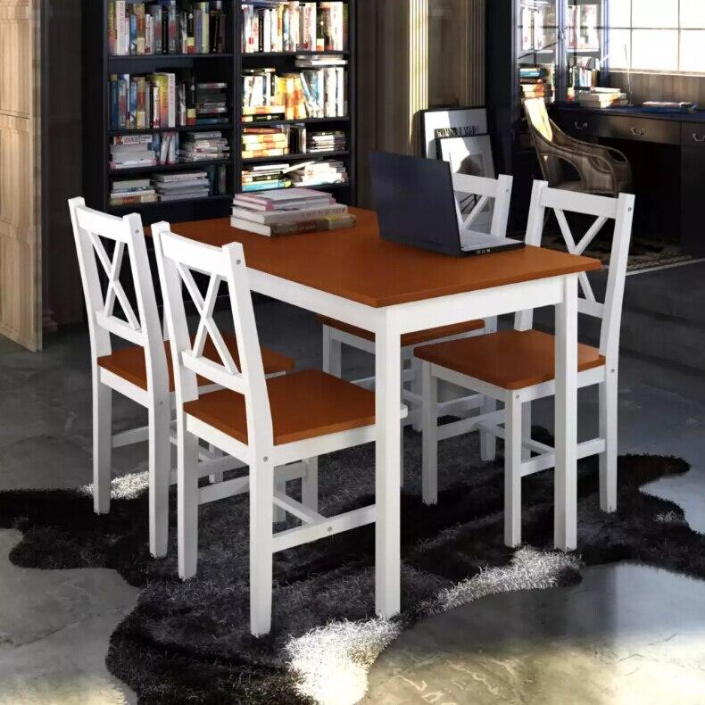 VidaXL обеденный набор 5 шт. твердой древесины коричневый Professional наборы для столовой четыре стула и обеденный стол