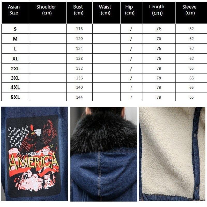 Parka Outwear Black Col En De 2018 Taille Plus Manteau Veste La Laine Hiver Matelassé Épais Fourrure Longue Denim Femme Broderie Okd535 Doublure Chaud blue 8n0POkwX