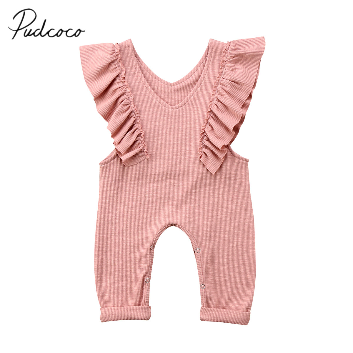Newborn Baby Kids Girls Ruffle Romper Overalls Jumpsuit Cotton Outfits Clothes