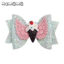 ncmama Cute Hair Bows for Girls Shiny Glitter Clips 3 Cartoon Hairpins Summer Style Barrettes Kids Accessories