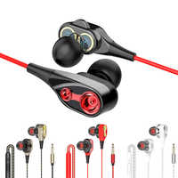 3.5mm Wired Earphone Dual Drive Stereo In-ear Headset Earbuds Bass Earphones With Mic For IPhone Samsung Sport Gaming Headset