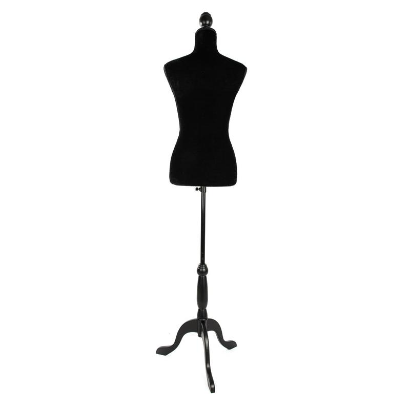 Home Black Clothes Hat Stand Rack Half Length Hollow Foam Coating Lady Mannequin Storage Rack For Clothing Display