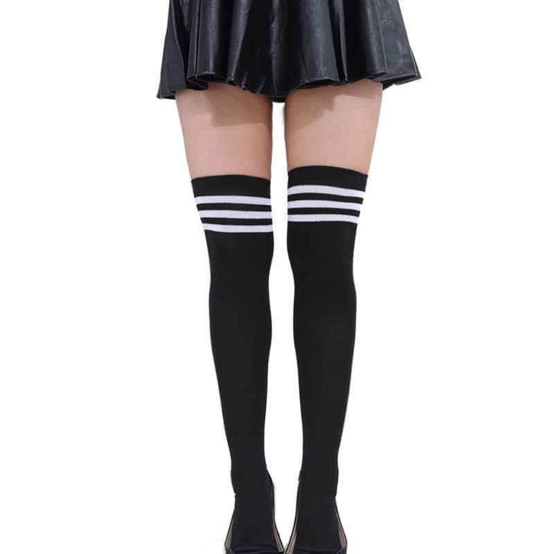 2019 Yeni Sıcak Seksi Kadınlar Lady Kız Pamuk Örgü Diz Üzerinde Uyluk Yüksek Çorap Uzun Çizme Sıcak Kablo Çizgili Stocking
