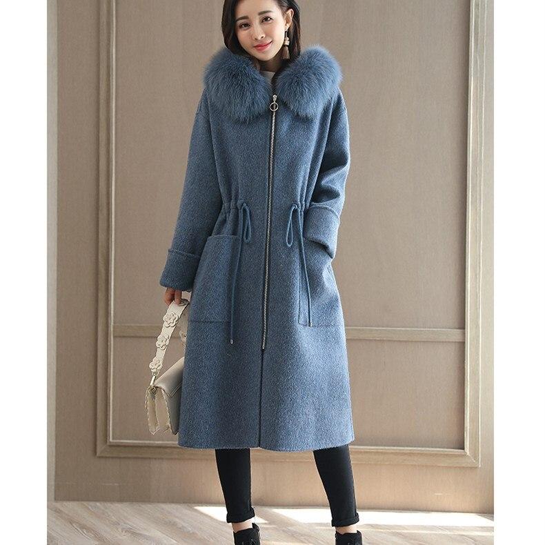 Donne Inverno Qualità Collo Blu Cachemire Lace Lana Delle Pelliccia  Cappuccio Cappotto Tuta Alta Con Autunno Cappotti 2019 Lungo Sportiva up Di  ... 781554252d8