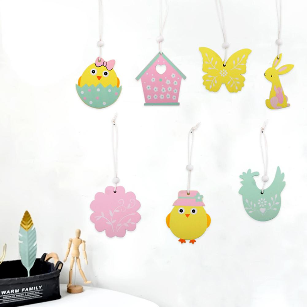 9Pcs Creative Wooden Easter Rabbit Carrot Egg Chick Butterfly Hanging Ornament Home Wood Decor Hanging Decorations Kids Gifts in Wind Chimes Hanging Decorations from Home Garden