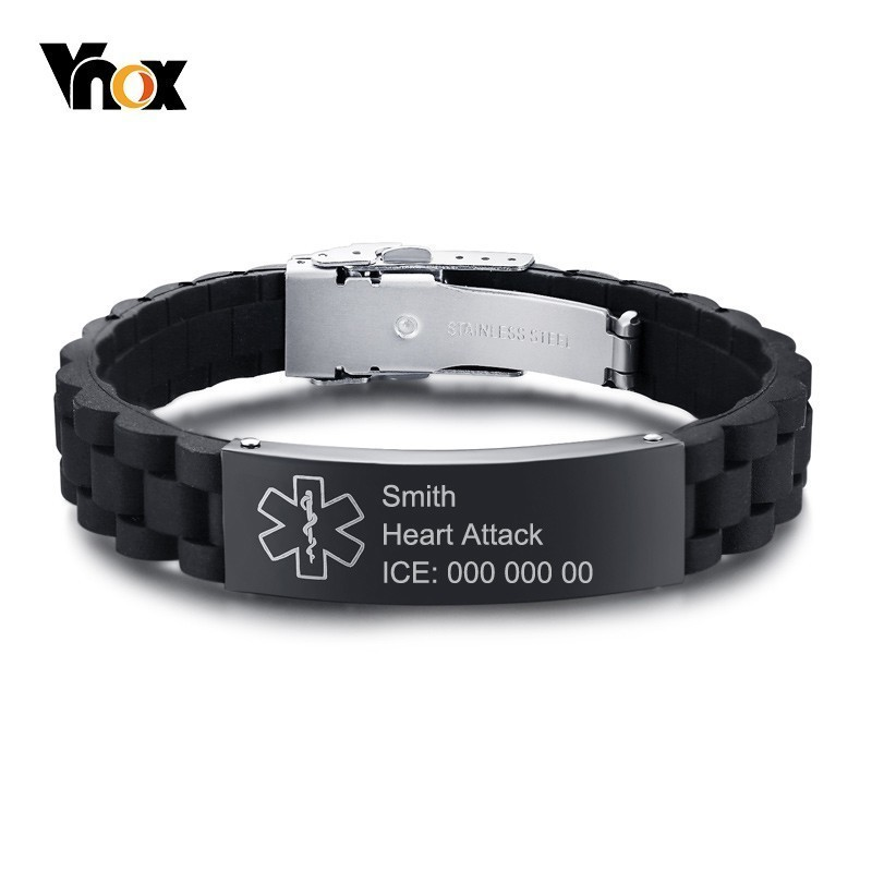 Vnox Free Engraving Silicone Adjustable Medical Bracelets Sport Emergency ID Bracelets for Men Women Unisex pulseraVnox Free Engraving Silicone Adjustable Medical Bracelets Sport Emergency ID Bracelets for Men Women Unisex pulsera