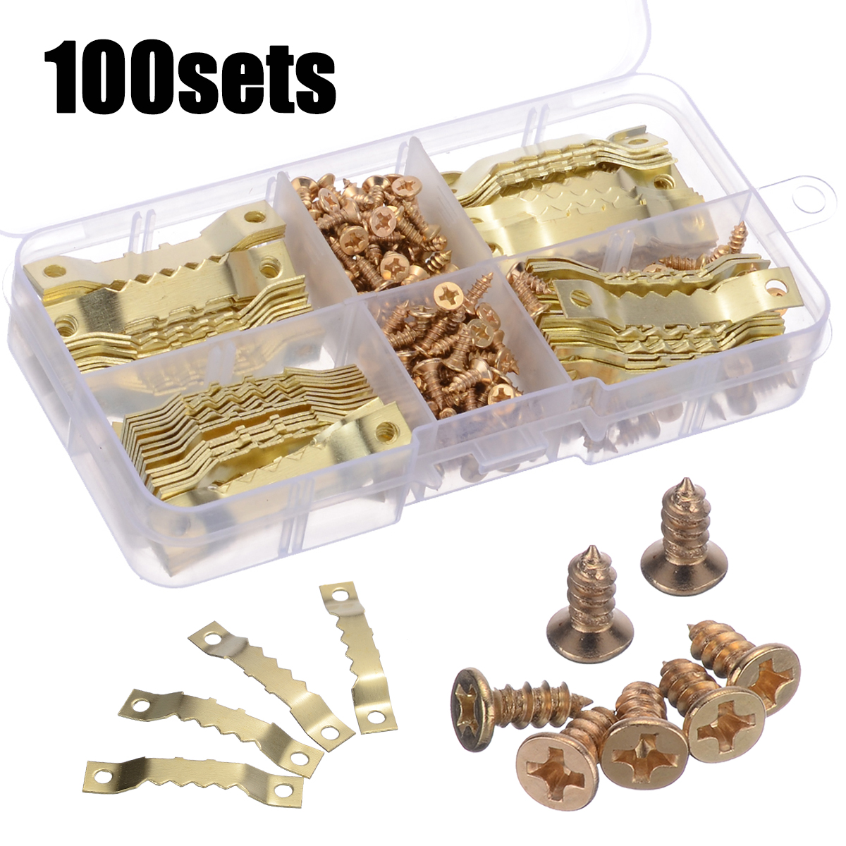 100 Sets 45*8mm Gold Saw Tooth Hangers Canvas Picture Frame Hooks + Screws Sawtooth Hangers For Hanging Picture Painting Mirror