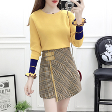Winter 2019 New Fashion Suits Plaid Print Skirt Knit Irregular Grid Skirts Two-Piece Outfit Pullover Sweater Top Design Vestidos grid print belted skirt