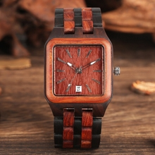 Red Sandalwood Wood Watch Mens Unique Rectangle Dial Light C