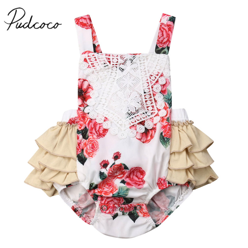 a3c24d422f4 2019 Brand New Newborn Infant Baby Girls Boys Ruffle Solid Bodysuit  Sleeveless Sunsuit Cotton Jumpsuit Outfit Clothes Summer