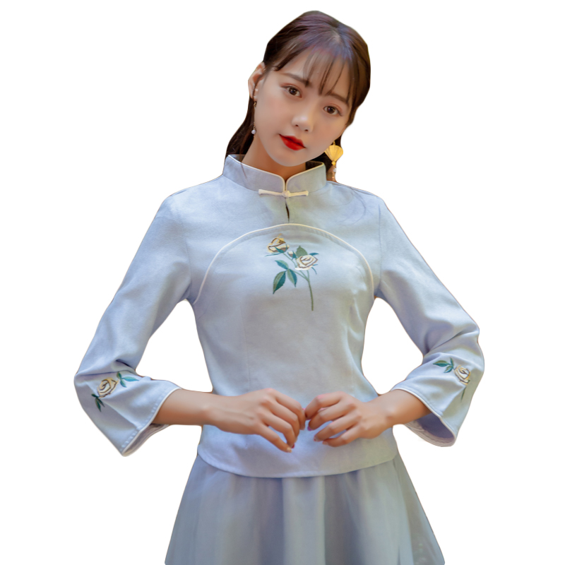 Tangzhuang 6208 Vestes Vintage Folk 2018 Daily Cheongsam Brodé China Bouleversé Nouveau Vent Chemise Hanfu Chemisier TAPwcqpWF