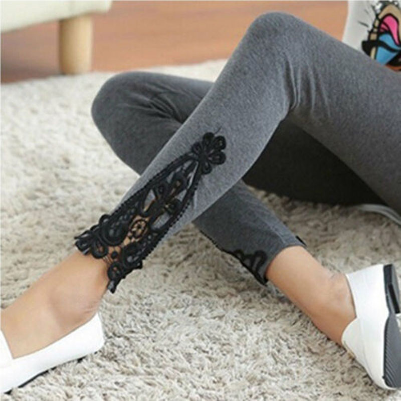 Women Legging Skinny Lace Cotton Sheath Stretch  Pants Lacework Soft Solid Color Ankle-Length Leggings