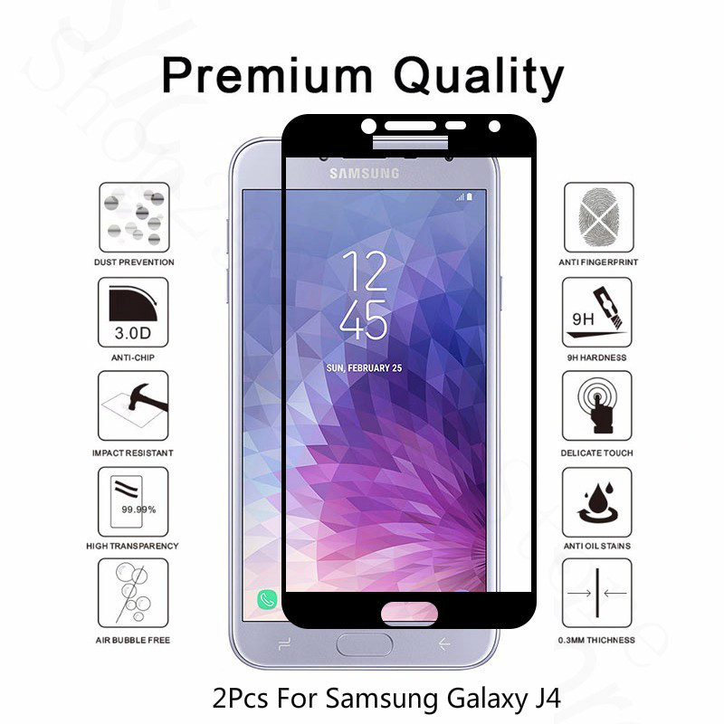 2Pcs Tempered <font><b>Glass</b></font> Film For <font><b>Samsung</b></font> <font><b>Galaxy</b></font> <font><b>J4</b></font> <font><b>2018</b></font> Full Cover Protective Screen Protector For <font><b>Samsung</b></font> <font><b>Galaxy</b></font> <font><b>J4</b></font> <font><b>Glass</b></font> SM-J400F image