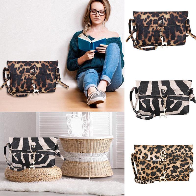 Women Leopard Fashion Messenger Mini Crossbody Bag Cute Deer Pendant Travel Bag