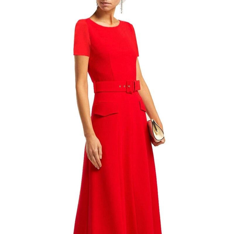 negro Vintage Corta Ropa Manga Un Cuello Cinturón Negro De Oficina Solapa Rojo Línea rojo Estilo Hebilla Con Bolsillos Redondo Color Vestido Señoras xYdpF07nY