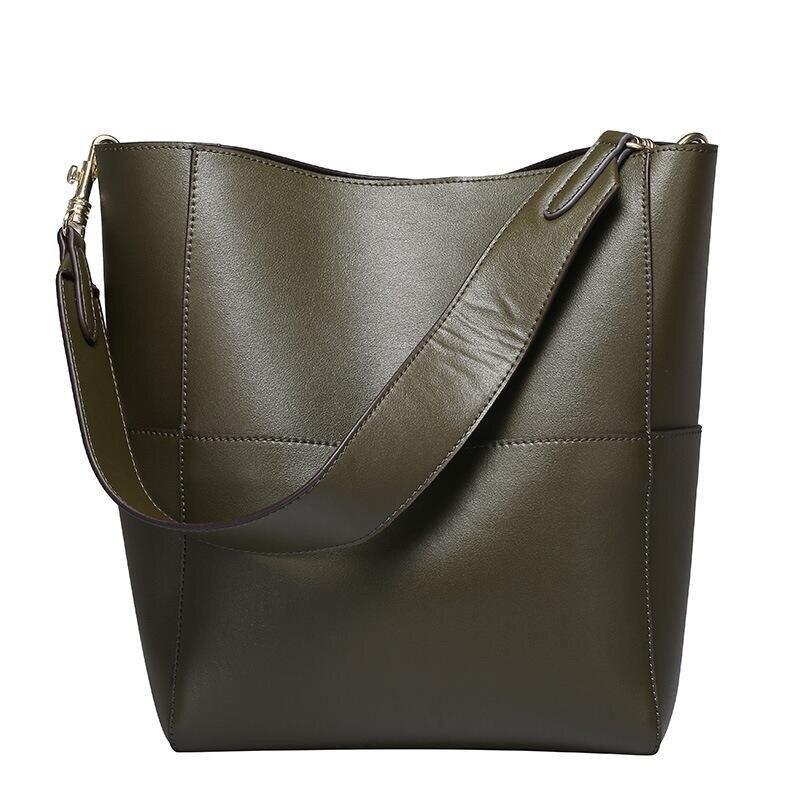 2019 bolso de mano de cuero genuino Real de las mujeres bolso de mano de cubo negro de lujo de las marcas famosas señoras hombro marrón bolso de diseñador - 3