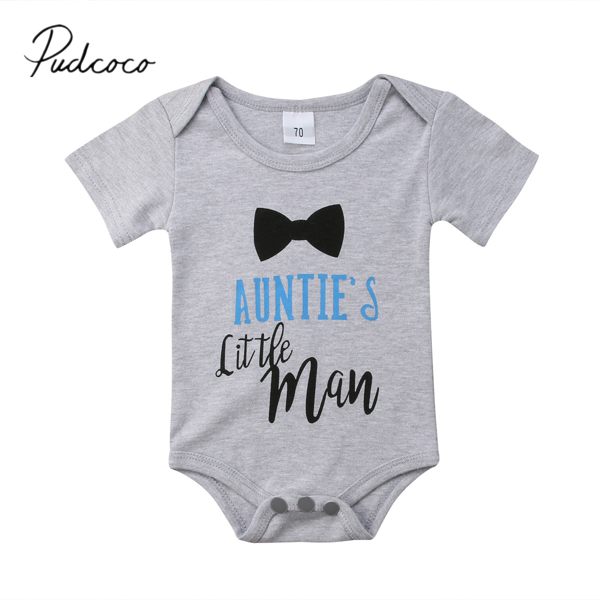 2018 Brand New Newborn Toddler Kids Boys Girls Summer Bodysuit Short Sleeve Letter Bow Print Grey Jumpsuit Playsuit Outfit 0-24M