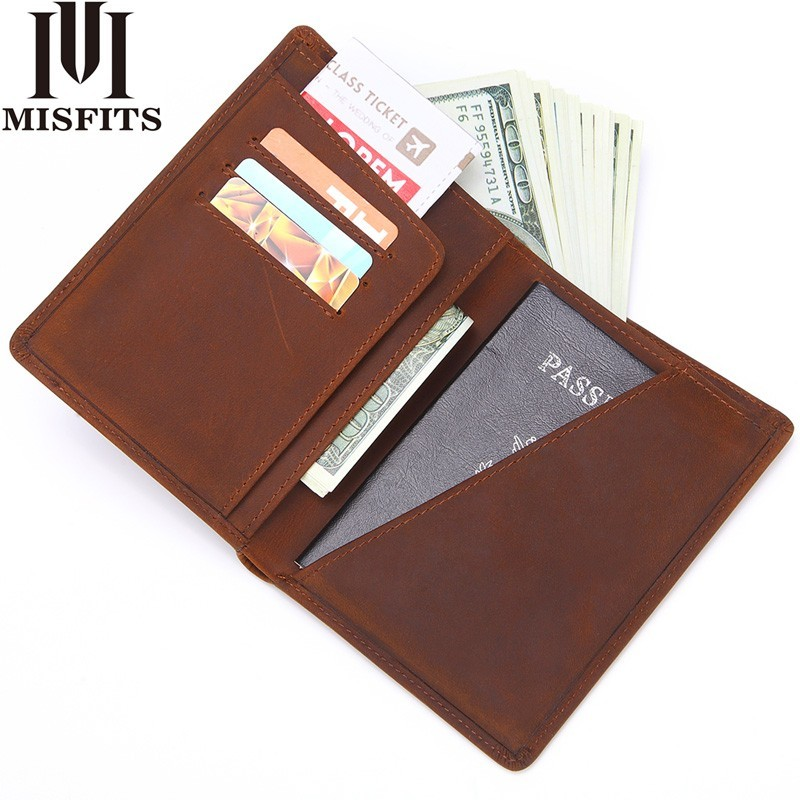 MISFITS Men Genuine Leather Passport Cover Business Wallet male Fashion Design Passport Holder Light Thin Licence ID Card Holder thinkthendo new male genuine cow leather wallet card package retro woven passport business cards holder