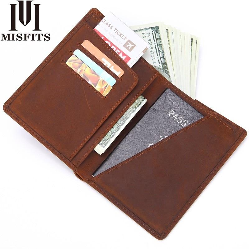MISFITS Men Genuine Leather Passport Cover Business Wallet male Fashion Design Passport Holder Light Thin Licence ID Card Holder