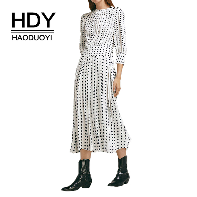 HDY Haoduoyi 2019 New Spring Round Neck Long Sleeve Solid White Chiffon Dot Loose  Dress Women Casual Beach Party Dresses