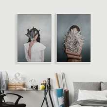 Nordic Decoration Feather Figure Cuadros Decoracion Canvas Painting Posters And Prints Art Wall Quadro Unframed