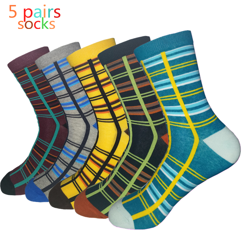 Calcetines Hombre Standard Nylon 2019 Top Fashion New Clothes Men Socks High Quality Men's Striped Cotton Socks, Happy 5 Pairs