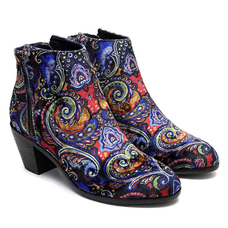 Socofy Flock Printed Flower Women Winter Boots Shoes Woman Bohemian Vintage Plush Cloth Ankle Boots Chunky Heel Ladies Shoes New