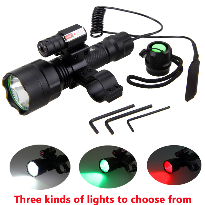 LED Tactical Hunting Flashlight Red Green White Rifle Gun Light+Laser Dot Sight Scope+Press Remote Switch+20mm Rail Barrel Mount