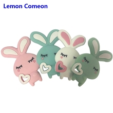 Lemon Comeon 1PC Cartoon Rabbit Pattern Silicone Baby Teether Teething DIY Beads Toddler Chew Toys Charms Gift BPA Free