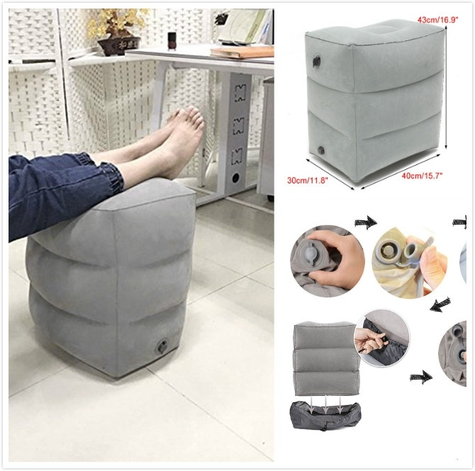 Confortable Portable Inflatable Foot Rest Pad Footrest Air