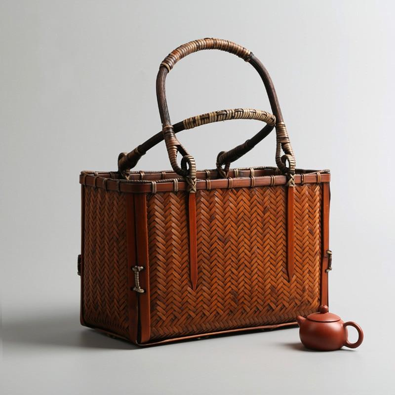 New Japanese Woven Women Bamboo Handbag With Wooden Handle Box Shape Female Retro Beach Straw Tote