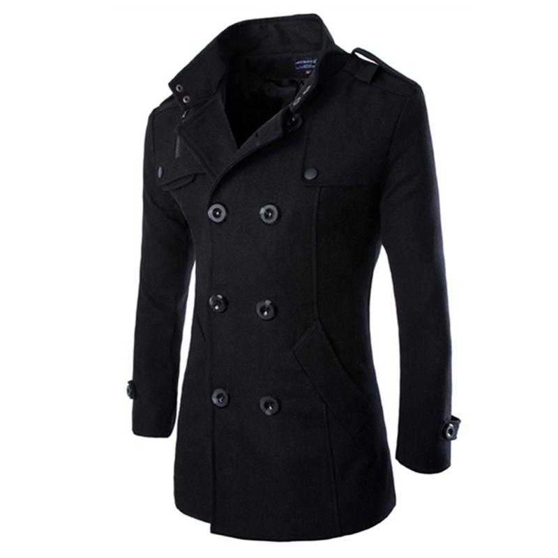 ZACOO Autumn Winter Men Double-breasted Button Lapel Collar Long Style Casual Garment Coat