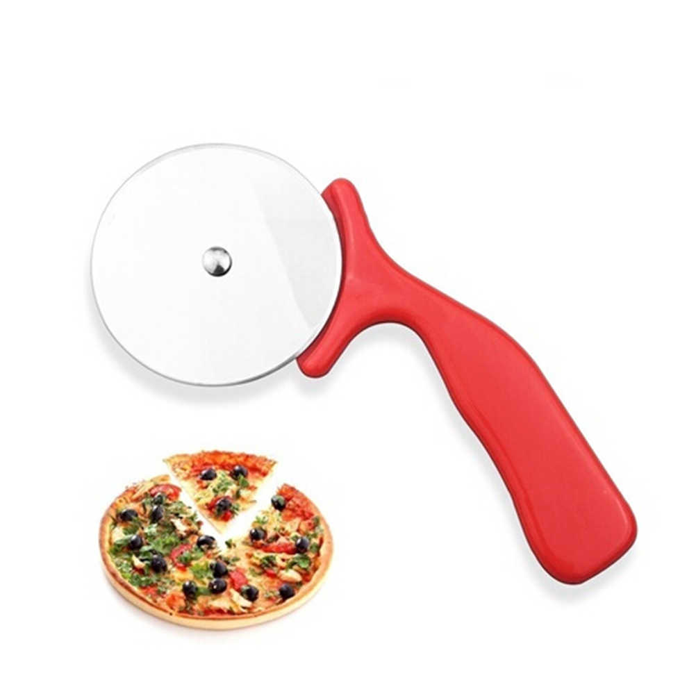 1 PC Stainless Steel Cutter Pizza Pisau Alat Kue Pizza Roda Gunting Ideal untuk Pizza Pie, Kue wafel dan Adonan Kue (Merah)
