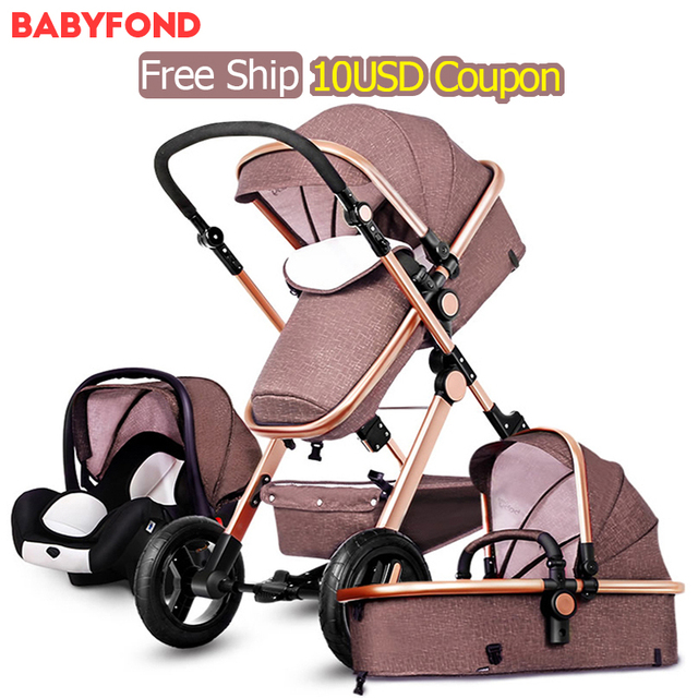 2017 Hot sell baby Stroller BB carriage 3 in 1 Baby car High landscape Ultra light Convenience to travel