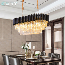 Italy Rectangle Modern Crystal Chandelier Dining Room Luxury Living Room LED E14 Lighting Fixture Large Kitchen Lustre Cristal