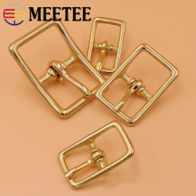 Meetee 5pcs 13/16/20/26mm Pure Brass Metal Pin Buckles Bag Accessories for Belt Backpack Strap Adjust DIY Leather Craft Garment