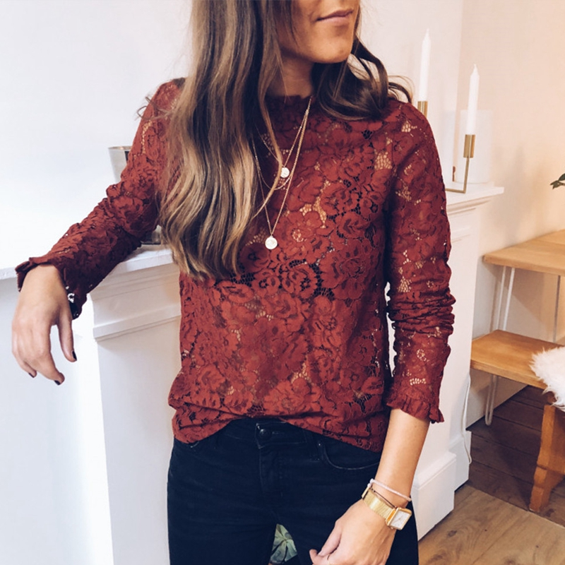 Women Long Sleeve Shirt Ladies Hollow Out Flowers Women Lace Blouses Femme Shirt Tops Sexy Mesh See-through Blouses