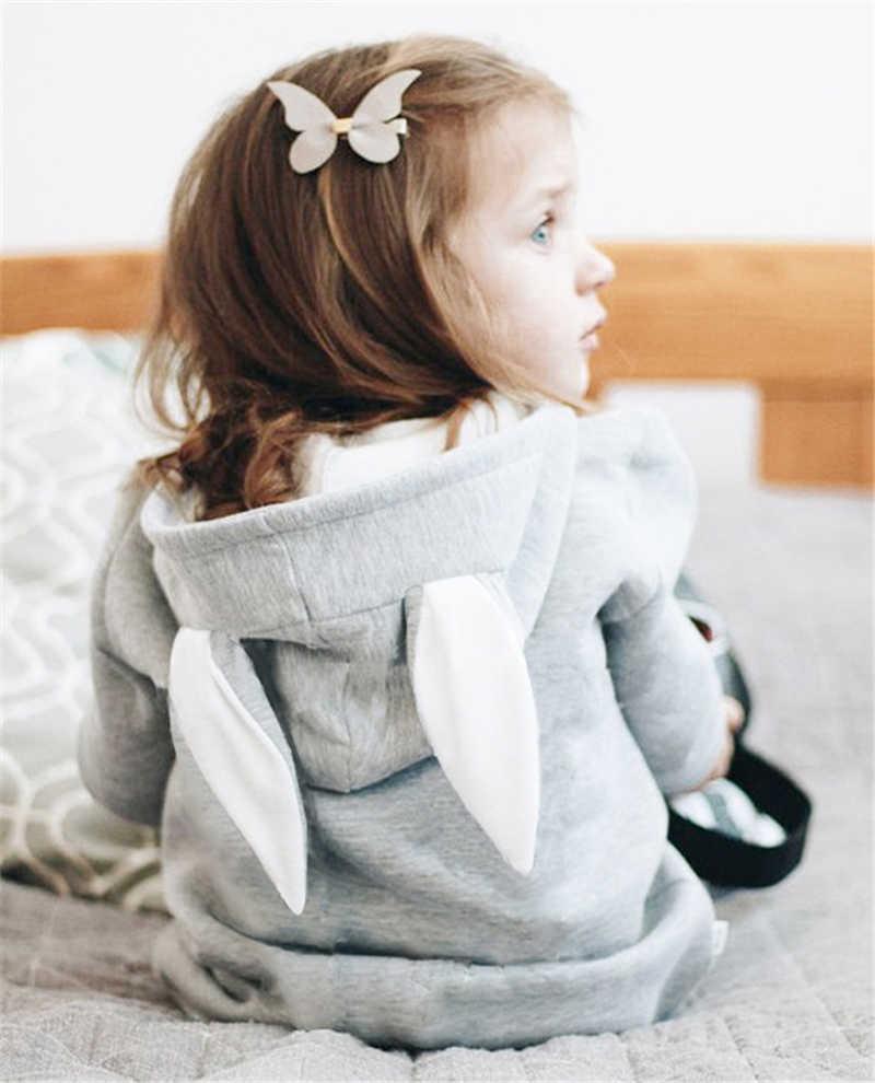 Bebé niña niños lindo Orejas de conejo sudaderas con capucha abrigo chaqueta de manga larga Jersey de algodón Outwear traje de nieve ropa