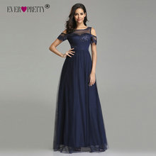Navy Blue Bridesmaid Dresses Long Ever Pretty Elegant A Line Off Shoulder Appliques Lace Formal Party Gowns Vestido Fiesta 2019