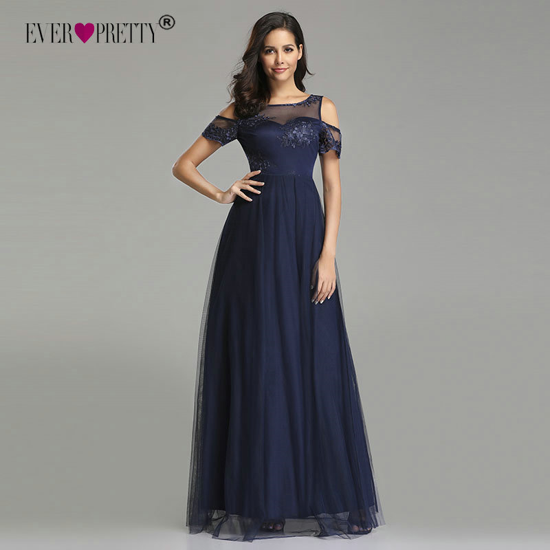 Navy Blue   Prom     Dresses   2019 Ever Pretty Elegant A Line Off Shoulder Appliques Lace Formal Party Gowns For Wedding Vestido Fiesta